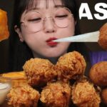 ASMR 후라이드 치킨 & 치즈볼 리얼사운드 먹방 FRIED CHICKEN & CHEESE BALLS EATING SOUNDS MUKBANG   Ae Jeong ASMR
